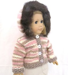 American Girl Doll Sweater Hood Fur Pink Knit by PreciousBowtique, $16.00
