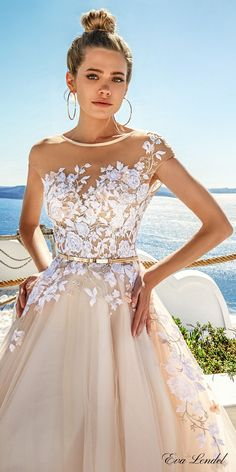 Eva Lendel 2017 bridal sheer cap sleeves sheer jewel neck sweetheart neckline heavily embellished bodice blush color romantic a  line wedding dress open v back chapel train (kate) zv #wedding #bridal #weddingdress