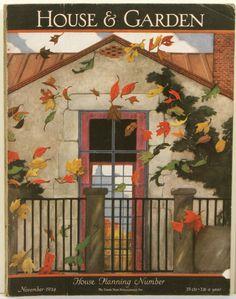 House Garden - November 1944 - artwork by Ethel Franklin Betts Vintage Illustration Art, Magazine Illustration, Old Magazines, Vintage Magazines, Vintage Ephemera, Vintage Art, Journal Vintage, Magazine Art, Magazine Covers