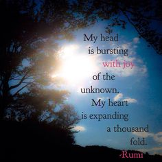 My head is bursting with joy of the unknown. My heart is expanding a thousand fold ~ Rumi. #happieroutside