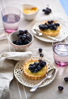 Creamy, tangy, delightful little Lemon Curd Tarts with Fresh Grapes