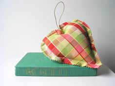 Preppy Christmas Pink and Green Plaid Heart by Hummingbird Factory Nashville