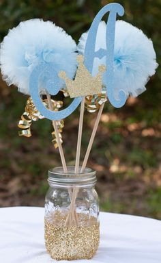 Boy Baby Shower Ideas Blue And Gold.Elegant Blue And Gold Prince Baby Shower Baby Shower . Kara's Party Ideas Wish Upon A Star Themed Baby Shower. Décoration Baby Shower, Mesas Para Baby Shower, Girl Shower, Shower Party, Baby Shower Parties, Baby Shower Themes, Baby Shower Gifts, Shower Games, Baby Boy Centerpieces