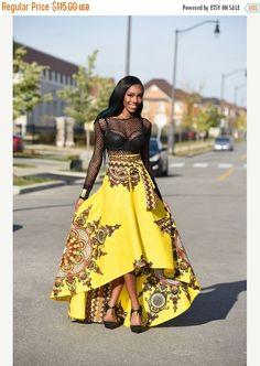 Holiday Quick ship Sale Yellow African print skirt  Royal Java skirt, Dashiki  skirt, African clothing