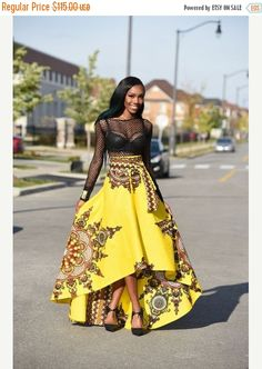 Holiday Quick ship Sale Yellow African print skirt by RAHYMA