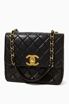 Vintage Chanel Quilted Leather Logo Handbag