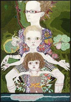 Del Kathryn Barton: You are what is most beautiful about me, a self portrait with Kell and Arella :: Archibald Prize 2008 :: Art Gallery NSW