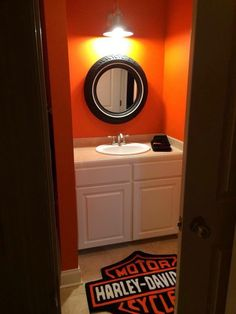 Harley Bathroom! Would be awesome for a guest bath or man cave | #bikerhome #harley #ChopperExchange