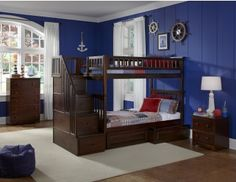 Atlantic Furniture Columbia Staircase Full Over Full Size Staircase Bunk Bed with Raised Panel Trundle Bed, Modern Style, Built-In Modesty Panel, Assembled Staircase and Solid Eco-Friendly Hardwood Construction in Walnut Finish Bunk Beds With Drawers, Bunk Beds With Storage, Bunk Bed With Trundle, Bunk Beds With Stairs, Cool Bunk Beds, Twin Bunk Beds, Bed Storage, Storage Drawers, Loft Beds
