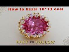 (13) How to bezel 18*13 oval swarovski - YouTube Bead Crochet Patterns, Beaded Jewelry Patterns, Beading Patterns, Jewelry Making Tutorials, Beading Tutorials, Seed Bead Projects, Seed Bead Jewelry, Geek Jewelry, Gothic Jewelry
