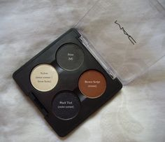 MAC basics customized eyeshadow palette : Print (a muted gray with a satin finish) all over the lid, with Brown Script (a warm chestnut brown, matte) in the crease, Nylon (a soft, pale white gold frost) in the inner corner corner, and Black Tied (black with silver shimmer, velvet) in the outer corner--default eye