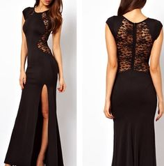 The Angelina Look print Elegance w a Slash of Darring! Black Evening Dresses, Evening Gowns, Black Gala Dress, Bond Girl Dresses, Pretty Dresses, Beautiful Dresses, Lace Dress, Dress Up, Bodycon Dress