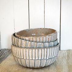 Three carved bowls on a rainy Friday morning. , aqua/grey glaze and lovely shino. Slab Pottery, Pottery Bowls, Ceramic Bowls, Ceramic Pottery, Pottery Art, Ceramic Art, Thrown Pottery, Earthenware, Stoneware