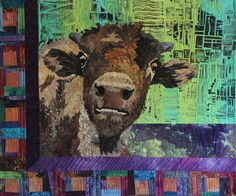 """""""Are You My Mother?"""" - curious buffalo calf art quilt by Barbara Yates Beasley"""