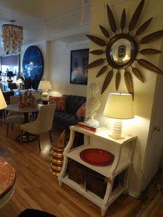 Circular #detailed #mirror with white accents at #Mecox #NewYork #interiordesign #mecoxgardens #NYC #furniture #shopping #design #decor #home #designidea #room #vintage #antiques #garden