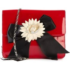 Moschino Vintage Flower Bow Appliqué Shoulder Bag