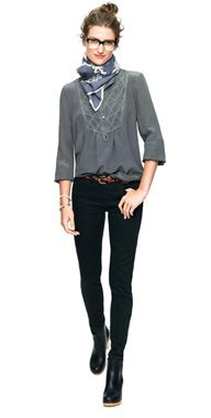 skinny skinny ankle jeans in black frost wash . love the gray top, scarf and top knot, too. and the glasses