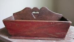 "Exceptional Early Knife Box in Original Red Wash w/ Heart 12&1/2"" by 8"" by 6"" tall. ebay 383."