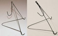 also for a minimalist, spare look. Need to display signs or one sheets, but don't want to spend a small fortune on frames or easels? With a sturdy wire hanger and a pair of pliers, you can make your own tabletop easel. Canvas Display, Display Easel, Display Ideas, Diy Table Top, A Table, Wire Hanger Crafts, Diy Easel, Wire Coat Hangers, Table Easel