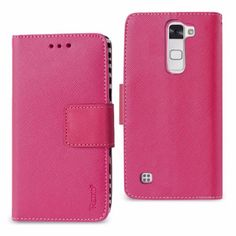 Reiko Lg Stylus 2/ Lg Ls775 Wallet Case 3 In 1 Zebra Pattern Hot Pink With Interior Leather Polymer And Stand Function