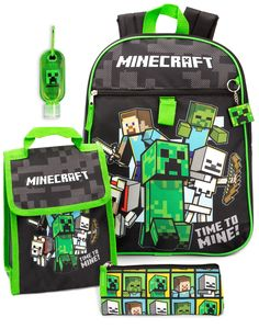 Video Game Logos, Video Games, Minecraft Merchandise, Minecraft School, Cool Pencil Cases, School Sets, Kids Boxing, Green Bag, Lunch