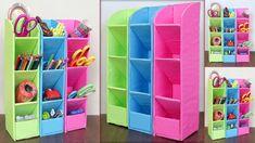 Home Storage and Organization Craft Idea Craft Room Storage, Cardboard Box Storage, Cardboard Organizer, Diy Cardboard Furniture, Cardboard Box Crafts, Diy Storage Boxes, Desk Organization Diy, Diy With Cardboard Boxes, Cardboard Castle