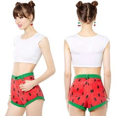 Lazy Oaf Juicy Watermelon/Strawberry  Shorties These strawberry shortcake shorts are oh so cute and flirty. They look great with crop tops or sweaters! Slight worn denim look, high waisted, and shortie short! Worn once! Lazy Oaf Brand for NastyGal! Feel free to make an offer, none of my prices are firm! Nasty Gal Shorts Jean Shorts