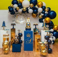 Best 12 Midnight Blue and Gold Balloon Garland, Balloons, Balloon Garland Kit, Bridal Shower, Anniversa – SkillOfKing. Grad Party Decorations, Baby Shower Decorations For Boys, Boy Baby Shower Themes, Baby Shower Balloons, Baby Shower Parties, Baby Boy Shower, Prince Birthday Party, 2nd Birthday Boys, Birthday Themes For Boys