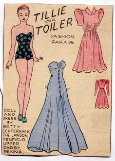Vintage TILLIE THE TOILER paper dolls 1940s Strapless Blue Formal Gown uncut in Dolls & Bears, Paper Dolls, Vintage | eBay