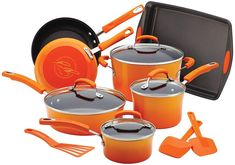 Add pops of functional color to your kitchen with this Rachael Ray Classic Brights Nonstick Porcelain Enamel Cookware Set. Aluminum cooking vessels deliver quick, even heat distribution while a durable nonstick-coated interior ensures easy cleanup. Enamel Cookware, Cast Iron Cookware, Cookware Set, Burnt Food, Pots And Pans Sets, Thing 1, Stainless Steel Dishwasher, Pan Set, Glass Ceramic