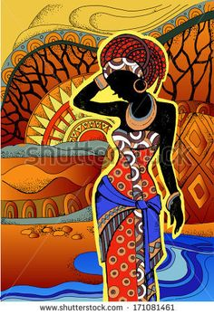 African Landscape.Southern landscape. Hand drawn illustration Beautiful black woman.African woman - stock vector