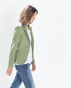 Image 2 of MOLESKIN BLAZER WITH ELBOW PATCHES from Zara