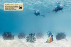 """The future is man made."" From 2006.  Agency: Leo Burnett, Sydney, for World Wildlife Fund"