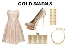 """""""GOLD"""" by bella1138 ❤ liked on Polyvore featuring Gianmarco Lorenzi, Chi Chi, KOTUR, R.J. Graziano, White House Black Market, goldsandals and contestentry"""