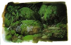 "rara-avis-in-terris: "" Forest Landscape design - Ghibli Studio, Mononoke Hime "" guess what i'm watching right now Environment Concept Art, Environment Design, Animation Background, Art Background, Storyboard, Animation News, Guache, Princess Mononoke, Anime Scenery"