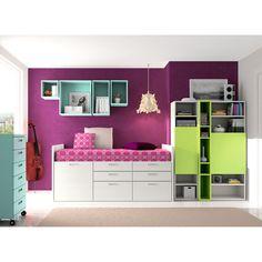 Dissery Dormitorio juvenil Spacios Dormitorio juvenil Spacios de Dissery. Completo y con gran espacio de almacenaje. Fabricado en tablero aglomerado en color...