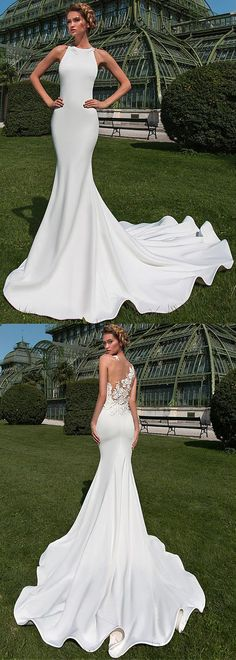 Fabulous Tulle & Satin Jewel Neckline Mermaid Wedding Dress With Lace Appliques & 3D Flowers & Beadings