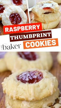 The best thumbprint cookies for your Christmas dessert! These easy Raspberry Thumbprint Cookies are delicious melt in your mouth cookies combining the flavors of shortbread and raspberry and topped with almond glaze. Add this to your Christmas food list! Chewy Peanut Butter Cookies, Best Sugar Cookies, Yummy Cookies, Cookies With Jam, Jelly Cookies, Star Cookies, Almond Cookies, Easy Christmas Cookie Recipes, Gastronomia