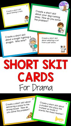 Drama Card Bundle Use these drama scenario cards for elementary students to make short skits in partners! Theatre Games, Drama Theatre, Teaching Theatre, Teaching Art, Skits For Kids, Acting Games For Kids, Middle School Drama, High School, Drama For Kids