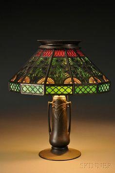 148: , Metal Overlay Table Lamp, Slag glass and patinat