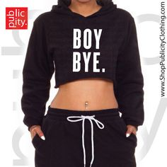 "DETAILS Unisex BOY BYE Cropped Hoodie. 80/20 Cotton/Poly Blend. Pre-Shrunk. Uber Soft Lining. High-Quality Screen Printed Graphic. MEASUREMENTS S [Bust/Chest: 20""; Body Length: 14""; Sleeve Length: 34"""