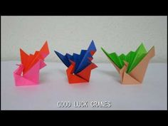TUTORIAL - How to fold the Good Luck Crane (摺紙紙鶴) - YouTube