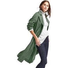 Gap Women Tencel Open Front Trench ($138) ❤ liked on Polyvore featuring outerwear, coats, cool olive, regular, army green trench coat, long sleeve coat, open front coat, lapel coat and trench coat