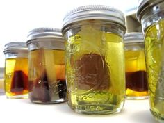 """Infusing Oil with Herbs & Spices - Measure 2 Tbs of Powdered Dry herb into seal-able tea bag (coffee filter?). Place bag in mason jar and cover with 5 oz oil. Secure lid. Place jars in pan with enough water to reach 1"""" UNDERNEATH the lid. Heat on low 1-2 hrs. Remove and cool. You can use fresh herbs ONLY if you plan on using the oil in soap making the same day."""