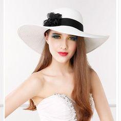 Wide brim straw sun hat for girls flower beach hats UV protection