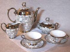 Vintage Chocolate Set: Bavarian Porcelain Silver Transfer-Lusterware