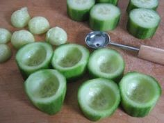 Cucumber cups — stuff with hummus or chicken salad