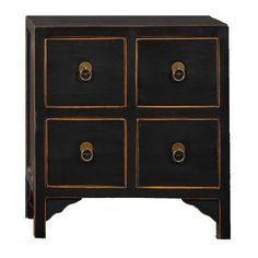 World Menagerie Marmol Four Drawer Lacquer End Table Color: Black
