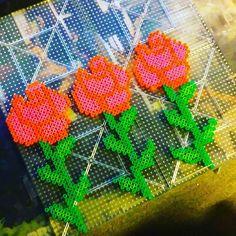 Perler bead roses by  lvl27haunter