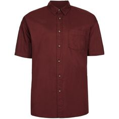 TOPMAN Burgundy Oxford Short Sleeve Shirt ($24) ❤ liked on Polyvore featuring men's fashion, men's clothing, men's shirts, men's casual shirts, shirts, tops, men, red, mens casual short-sleeve button-down shirts and mens cotton oxford shirts